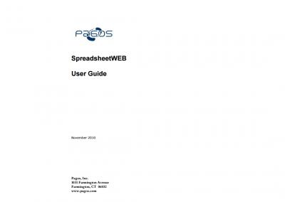 SpreadsheetWEB User Guide