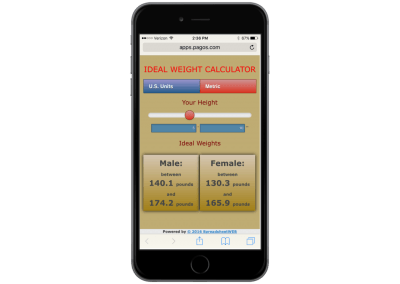 Ideal Weight Calculator – Mobile Enabled