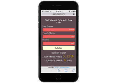 Interest Rate Calculator Using Goal Seek – Mobile Enabled