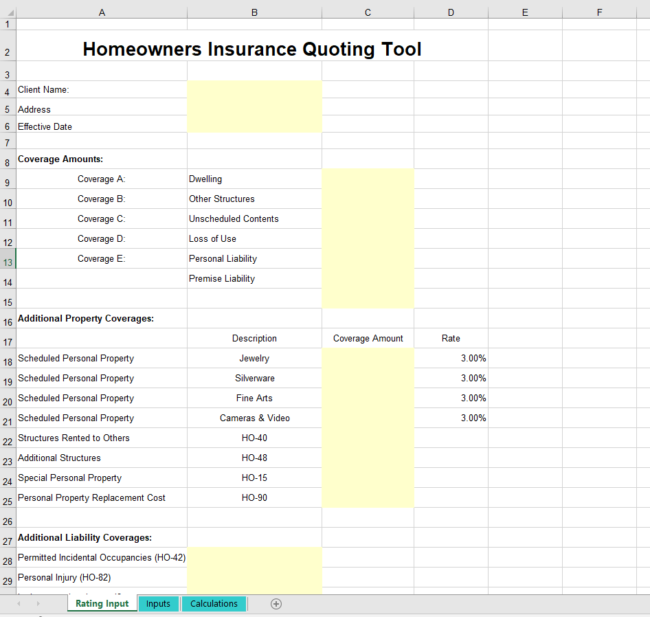 Insurance Spreadsheets Rating Quoting