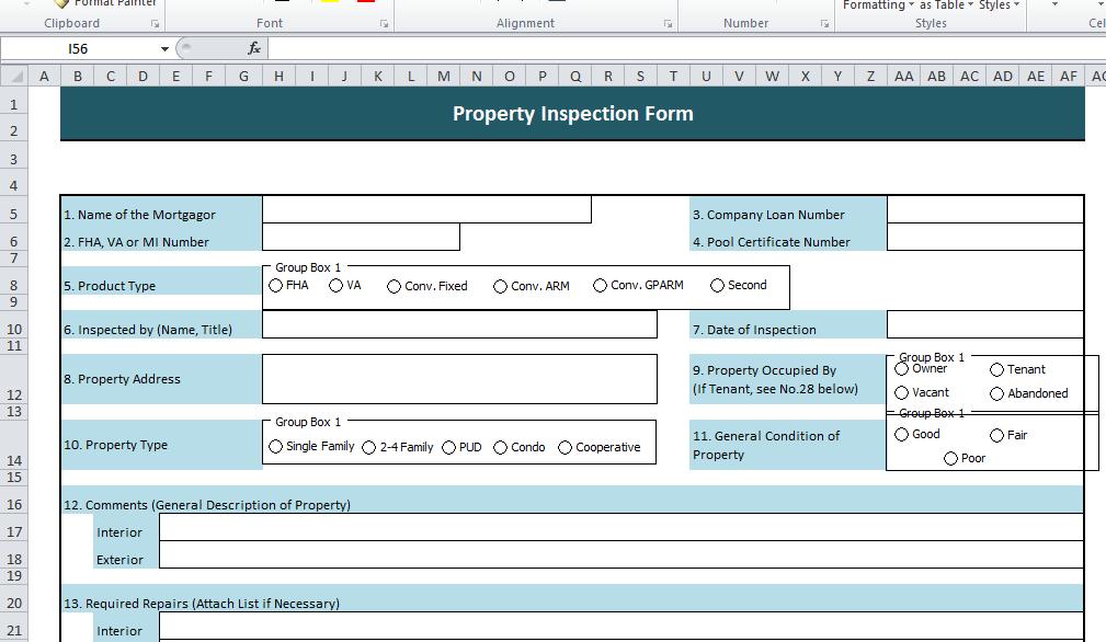 PropertyInspectionForm-Excel