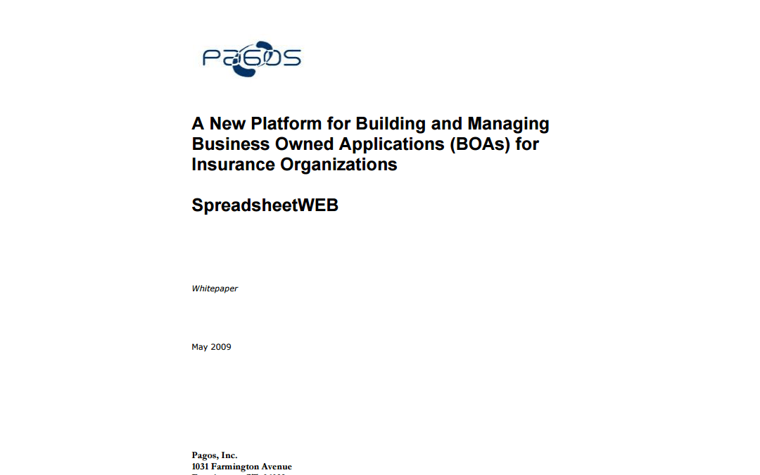 A New Platform for Building and Managing Business Owned Applications (BOAs) for Insurance Organizations