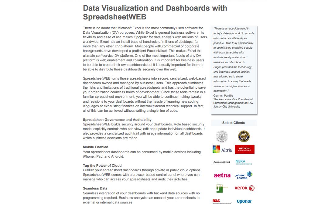SpreadsheetWEB for Data Visualization