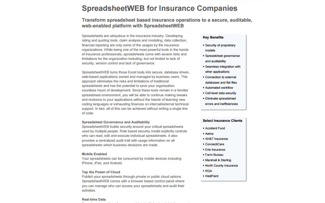 SpreadsheetWEB for Insurance