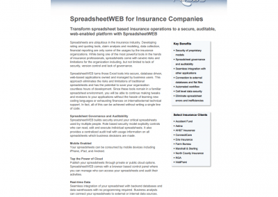 SpreadsheetWEB for Insurance