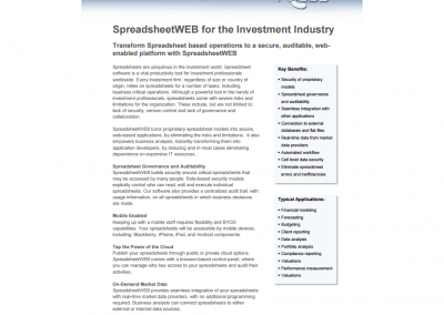 SpreadsheetWEB for Investment
