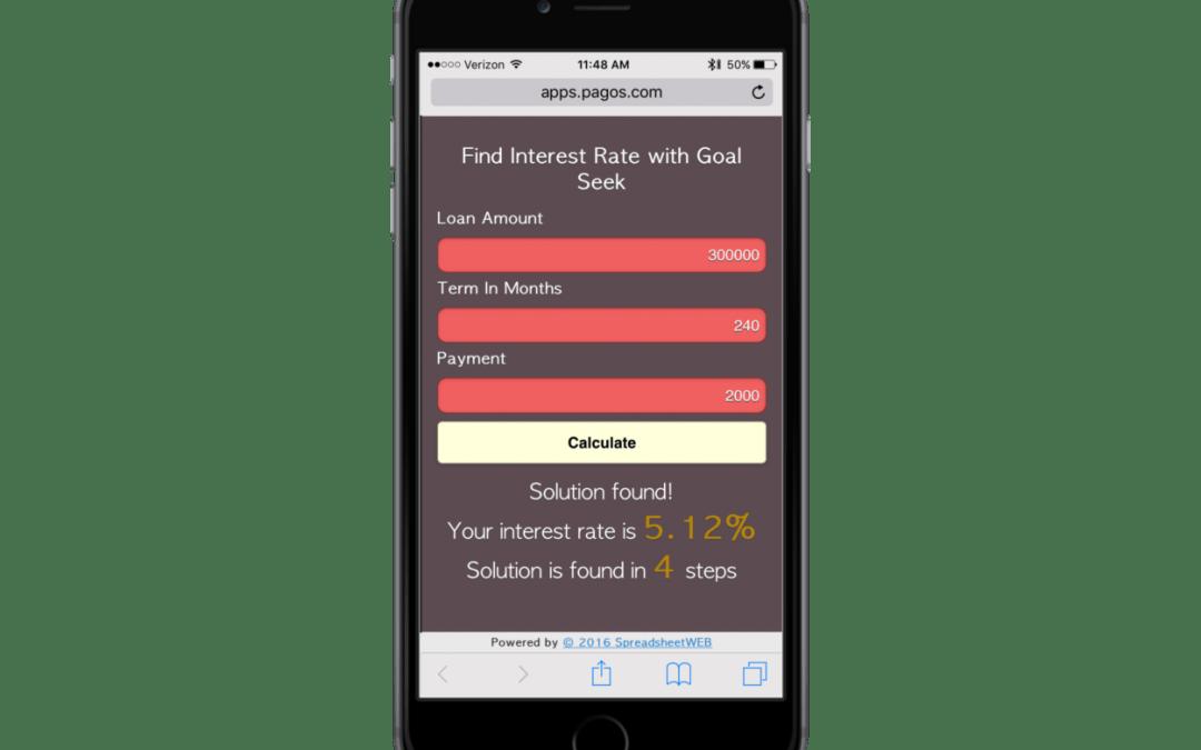 Interest Rate Calculator Using Goal Seek – Mobile Enabled