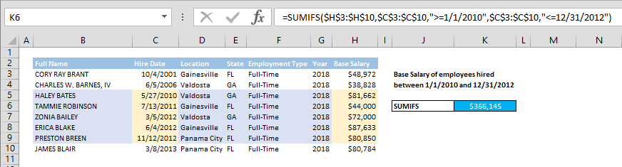 How to SUM values between two dates using SUMIFS formula