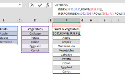 How to merge columns using formulas