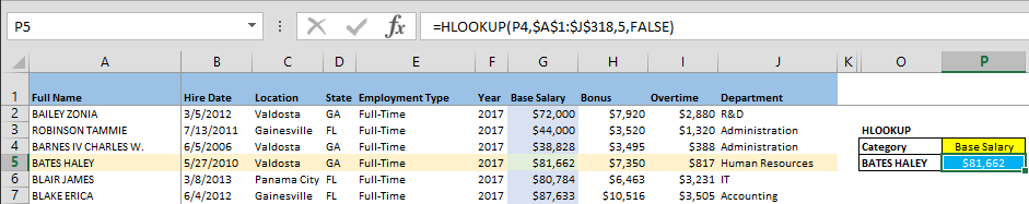 Comparison of VLOOKUP, HLOOKUP, and LOOKUP
