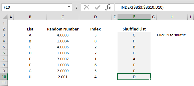 How to shuffle a list of items in a random order