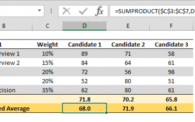 How to calculate weighted average with SUMPRODUCT