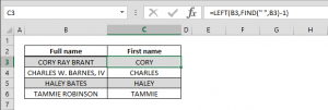 How to get the first name text from the full name data