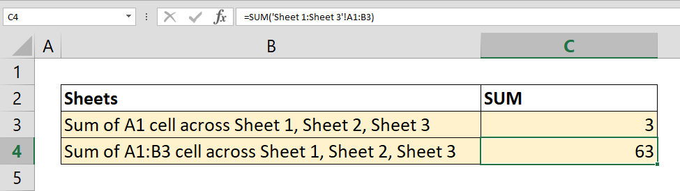 How to SUM values across sheets
