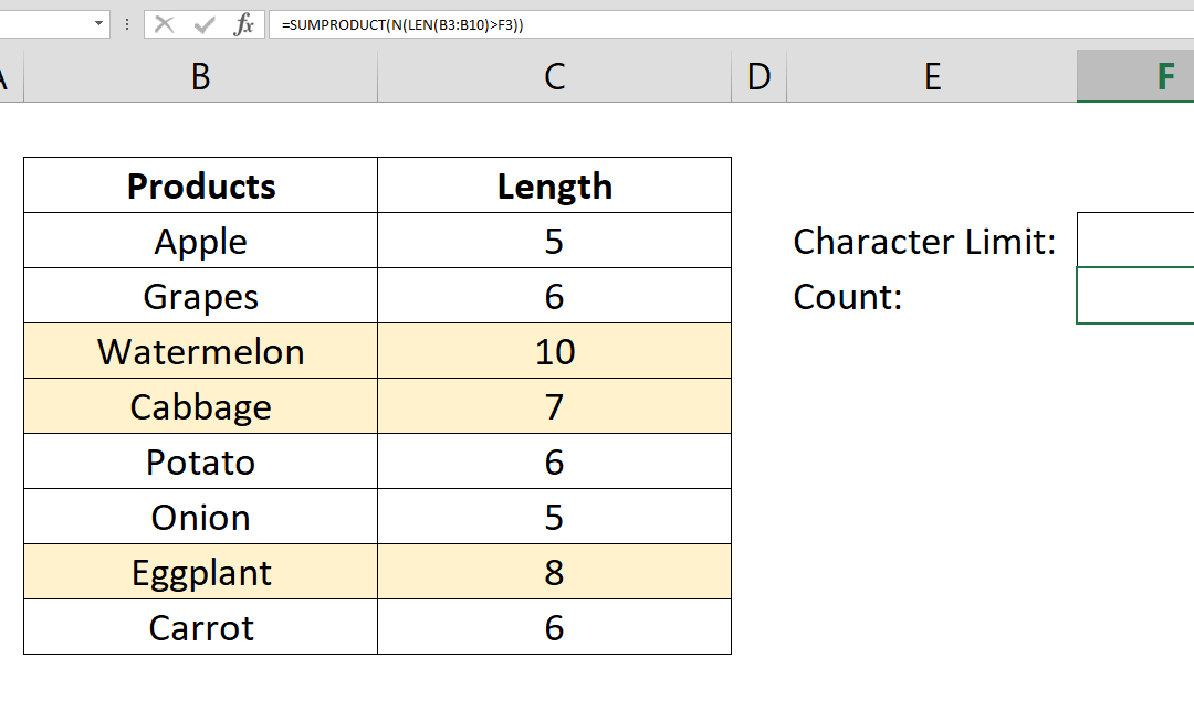 How to count values by length