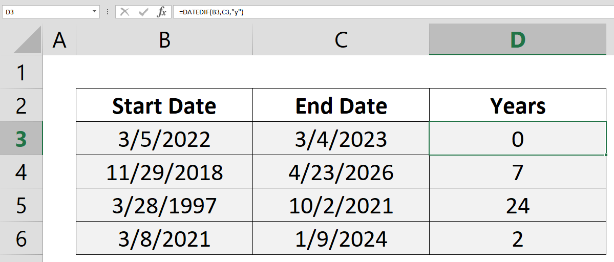 How to count years between two dates with the DATEDIF