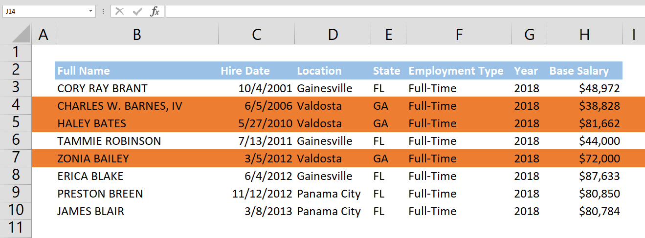How to highlight entire row
