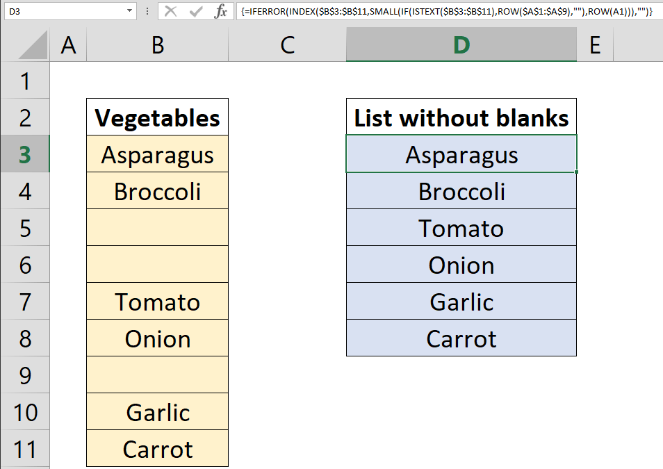 How to remove blanks from a list