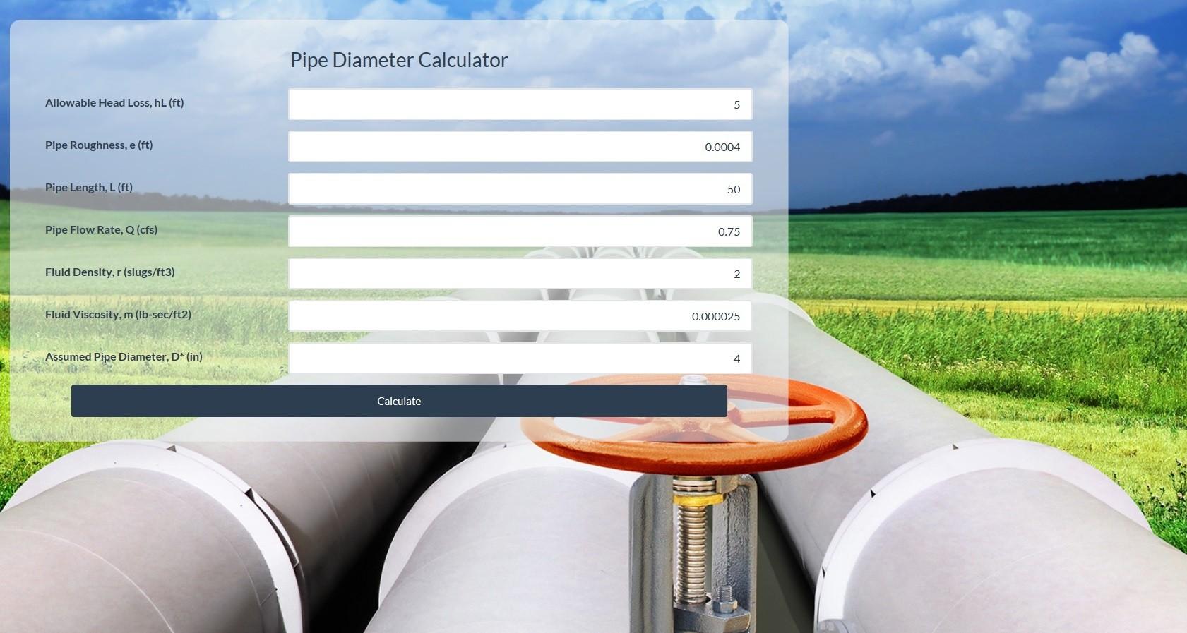Pipe Diameter Calculator