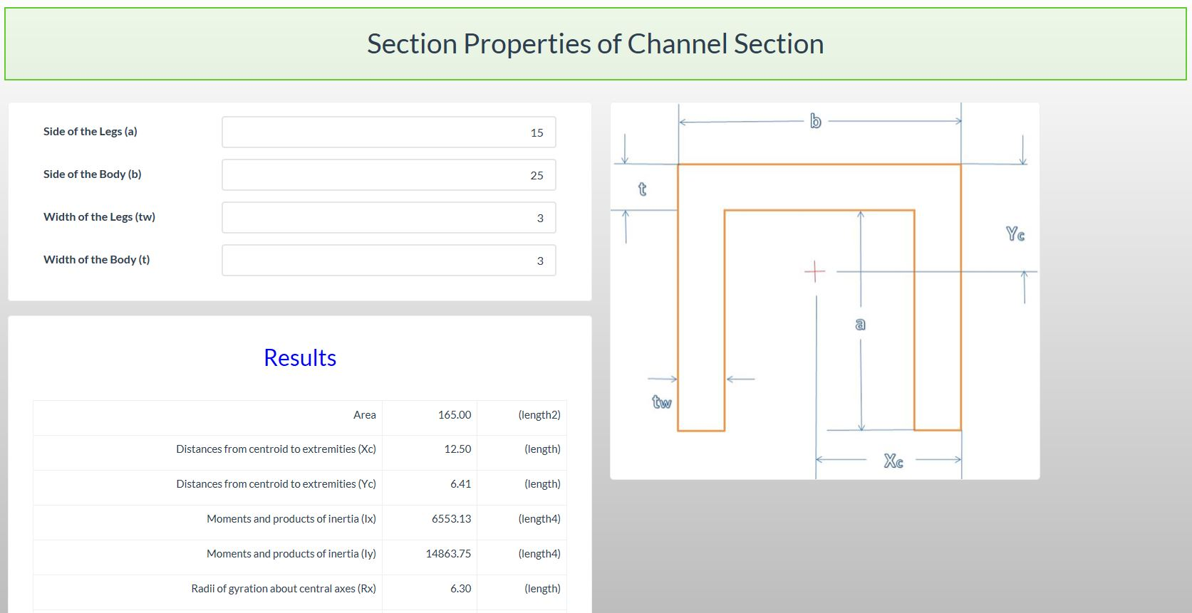 Section Properties Calculator - Channel Section