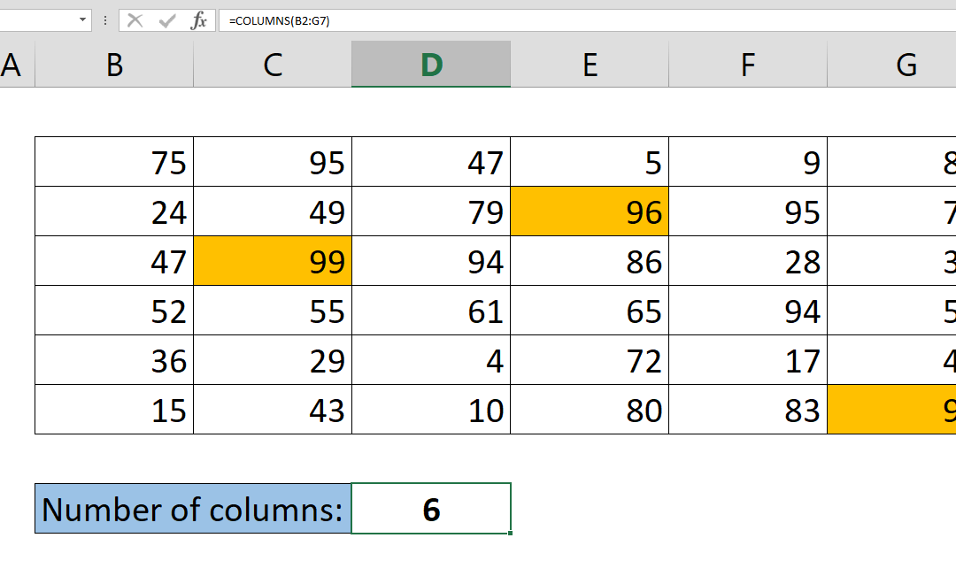 How to get the number of columns containing data in your table