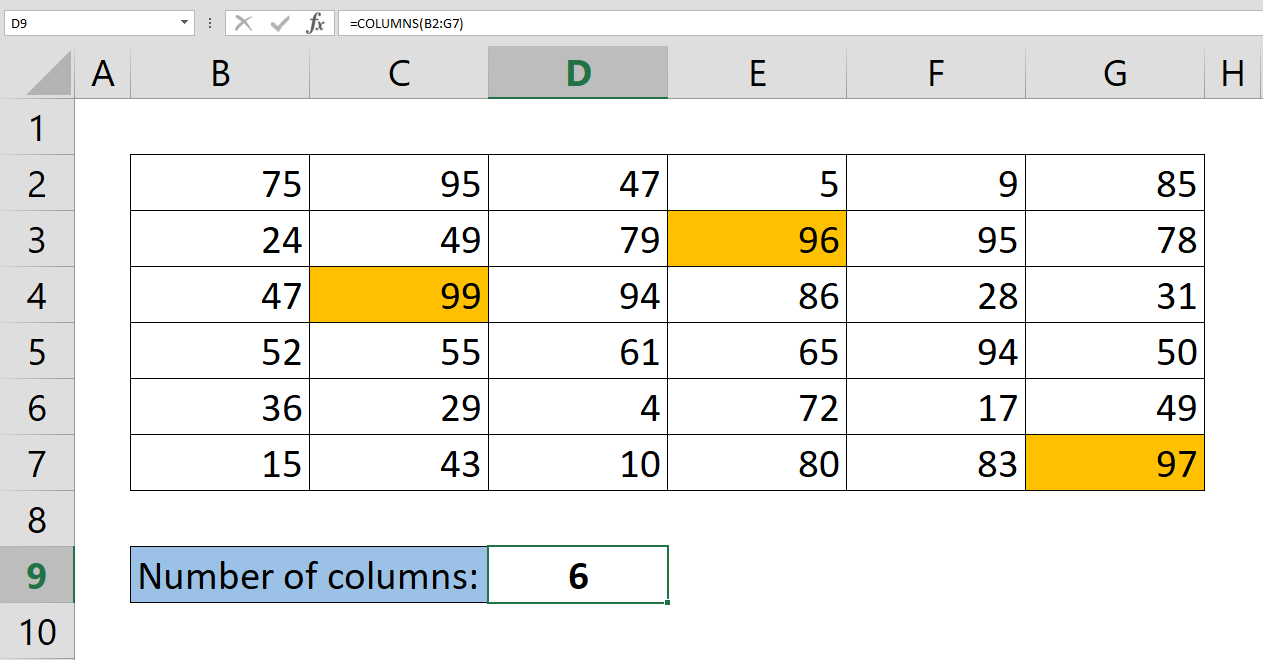 How to get number of columns