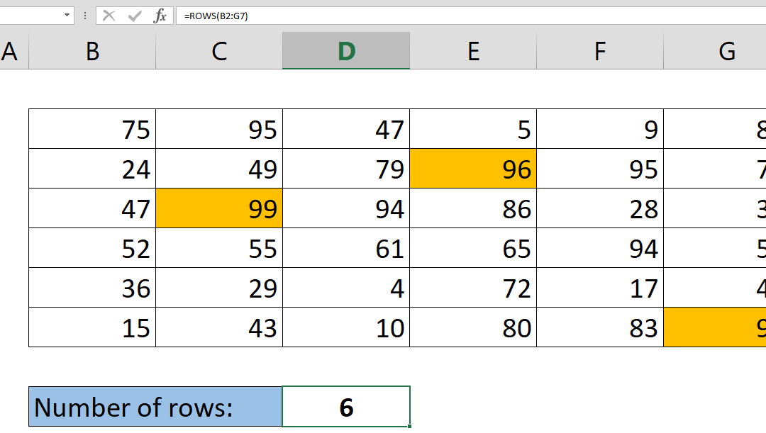 How to get the number of rows containing data in your table