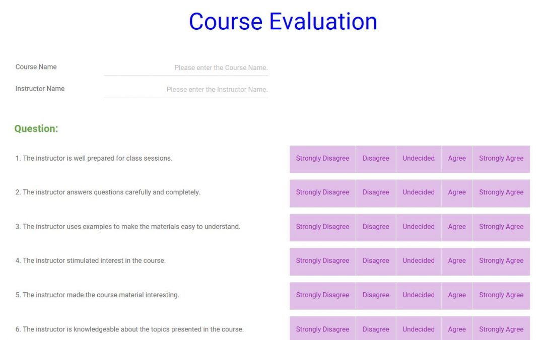 course evaluation survey