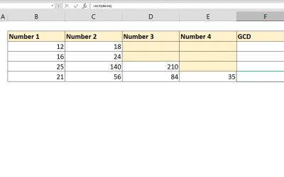 How to calculate GCD with Excel