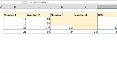 How to calculate LCM with Excel