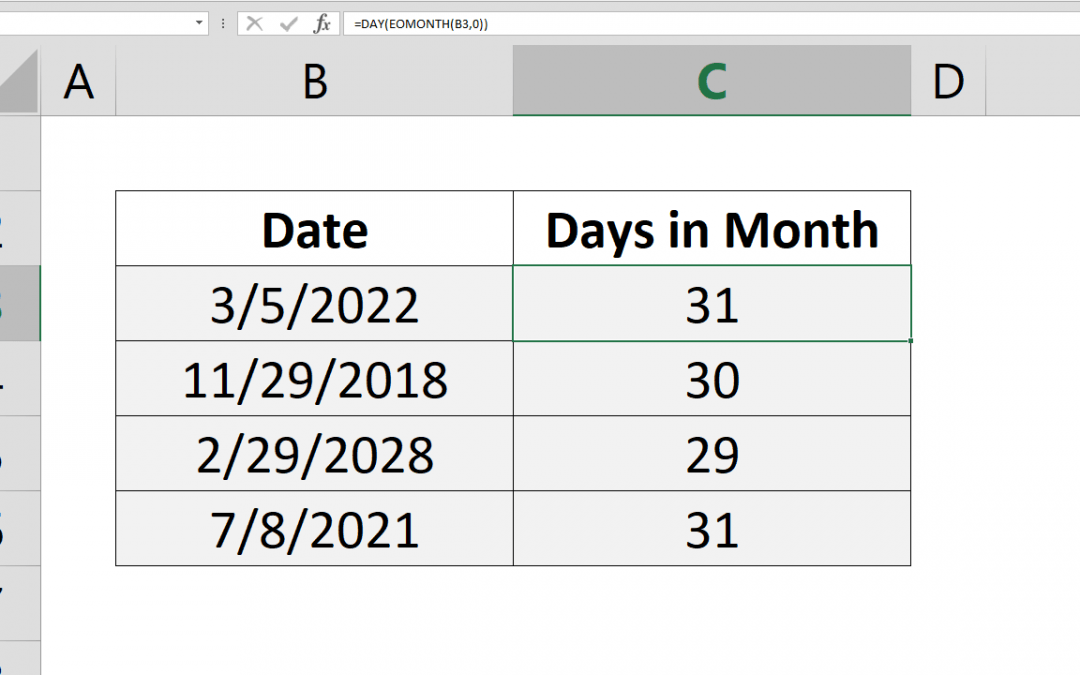How to find number of days in a month