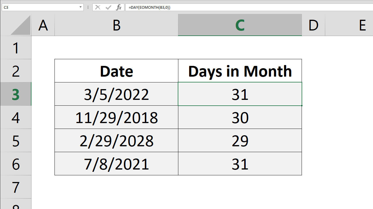 How to find number of days in month