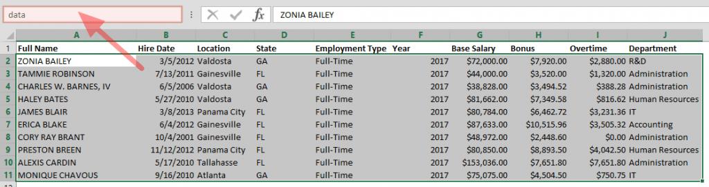 Excel Named Ranges