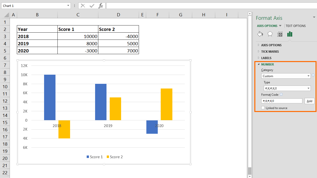How to change number format of chart axis
