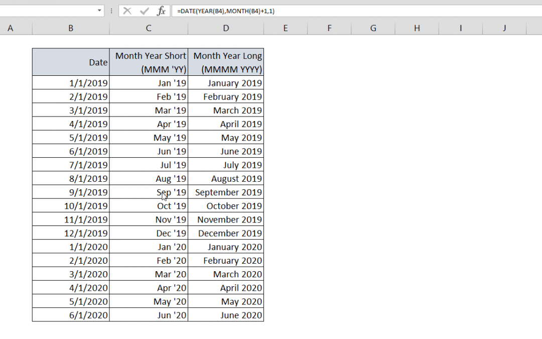How to generate Excel month names
