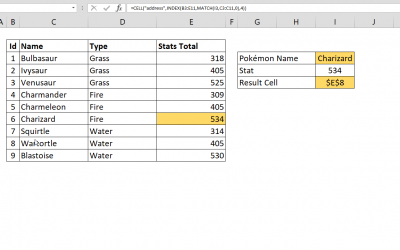 How to get Excel cell address of a lookup result