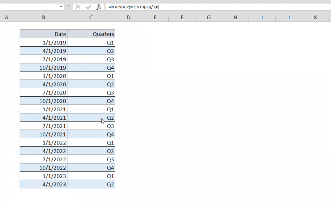 How to create a Quarter formula in Excel