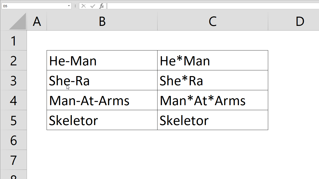 How to replace characters in Excel