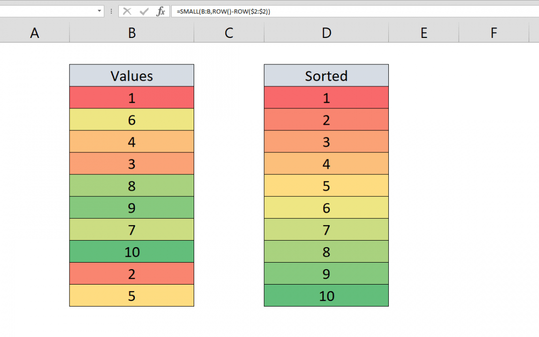 How to use Excel sort function