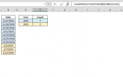 How to count cells in Excel by year