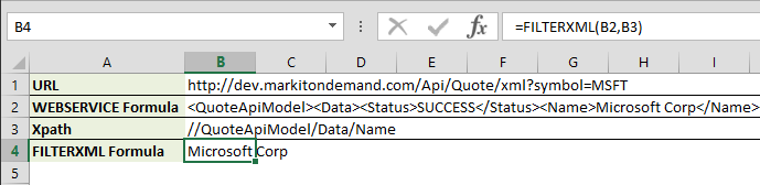 Utilizing Web Services in Excel Using Formulas