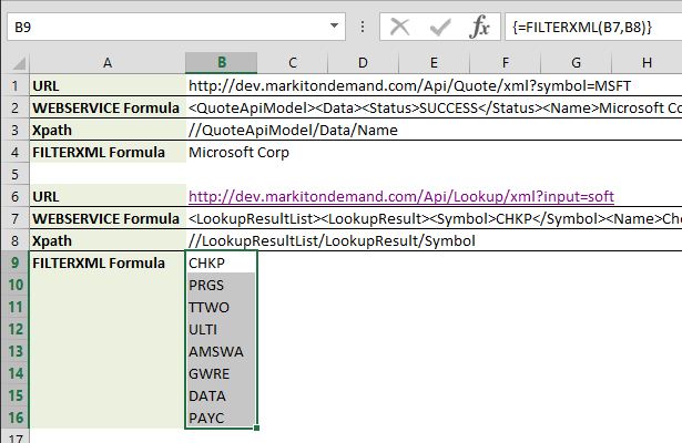 Utilizing Web Services in Excel Using Formulas