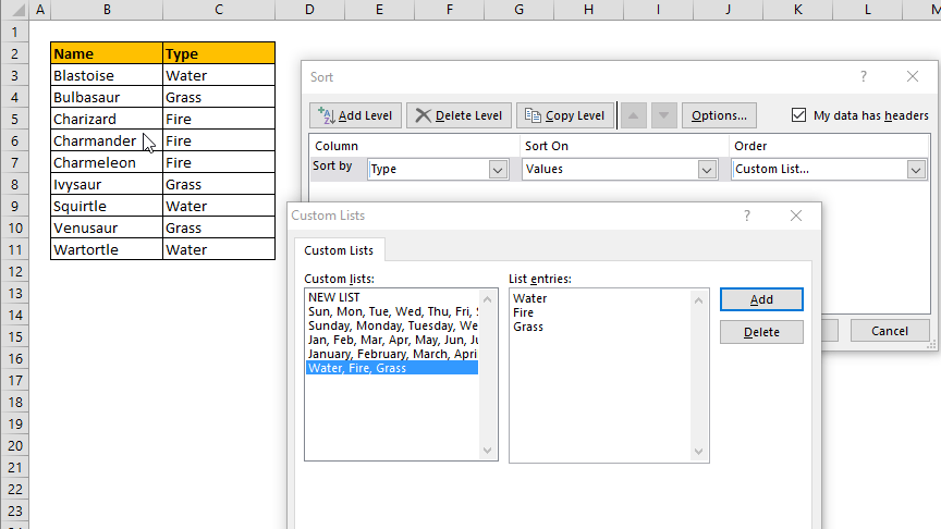 How to sort in Excel in a custom order
