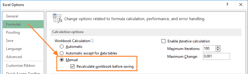 How to enable manual calculations if Excel is running slow
