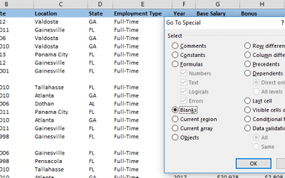 How to use the Go To feature to make Excel delete blank rows