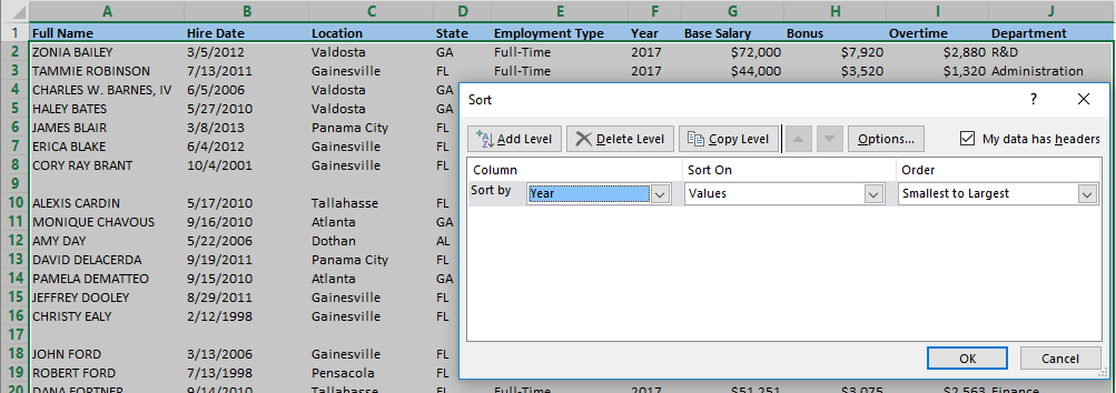 How to remove blank rows in Excel using sorting