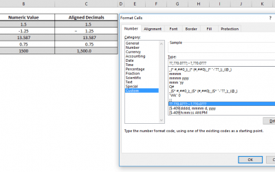 How to line up decimals in Excel using Number Formatting