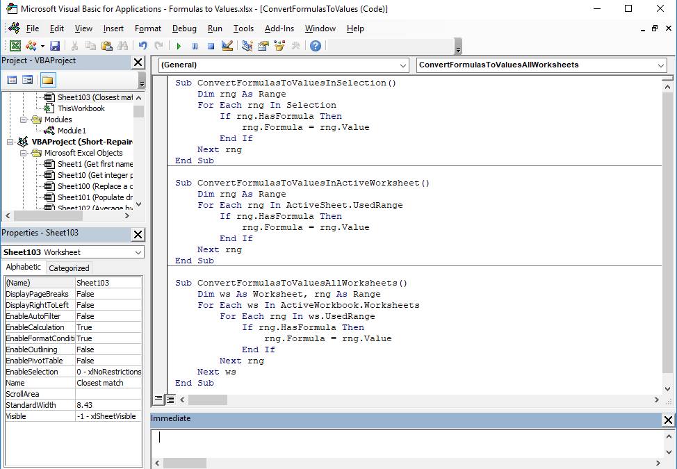 How to have Excel convert formula to value using VBA