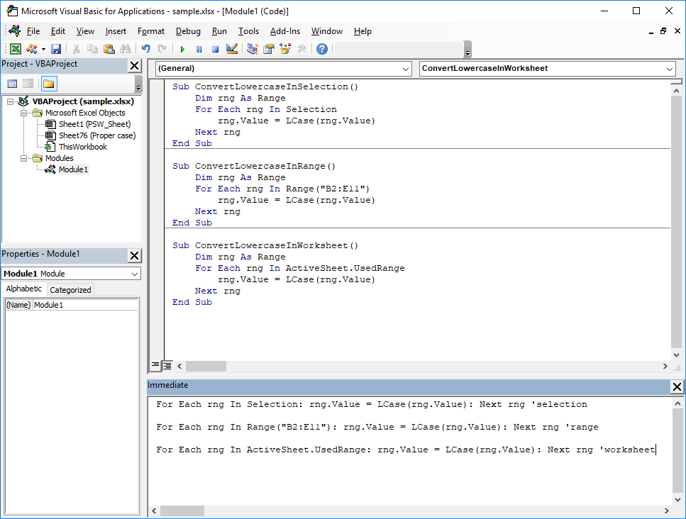 How to convert selection to Excel lowercase using VBA