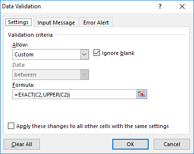 How to allow Excel uppercase characters only